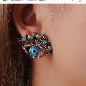 Jewelry - Blue gold evil eye protection statement earrings